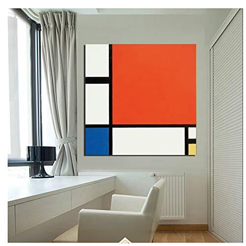 GIRDSS Mondrian Komposition In Rot Blau Und Gelb Kunst Leinwand Poster Gemälde Wandbild Druck Home Schlafzimmer-50X50cm ohne Rahmen