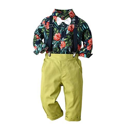 Moneycom❤ Niños en la parte inferior de la edad de los bebés, niño, diseño de hojas de la camiseta y arretería, pantalones verde 2-3 Años