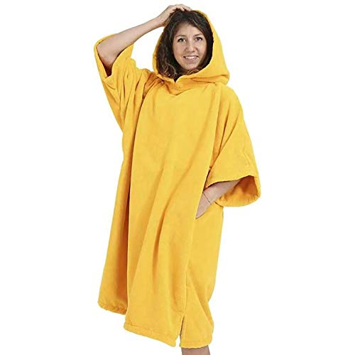 Dewellyoo poncho de baño cambiante, poncho de surf con capucha toalla poncho, amarillo, M/XL