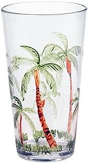 Set of 4 Palm Breeze 17 Oz Tumblers - Tropical Palm Tree Drink Glasses - 6.25