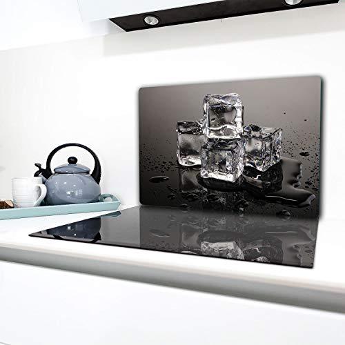 TMK - Placa protectora de vitrocerámica 80 x 52 cm 1 pieza cocina eléctrica universal para inducción, protección contra salpicaduras tabla de cortar de vidrio templado como decoración Negro