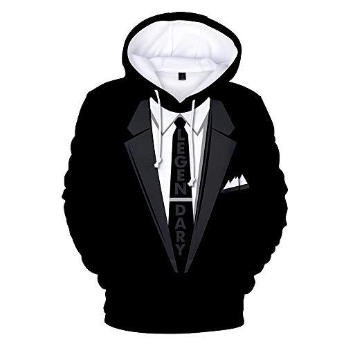 Herren Hoodie 3D Druck Kapuzenpullover Slim Fit Anzug Langarm Pullover Sweatshirts Drawstring Taschen Kapuzenpulli Hip Hop Sweater mit Kapuze Kapuzenjacke für Fitness M-3XL (M, Schwarz)