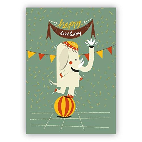Schattige retro verjaardagskaart met kleurrijke, balancerende zircus olifanten: Happy Birthday • mooie groetkaart voor verjaardagskind met envelop zakelijk & privé