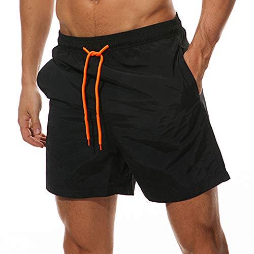 Qckarobe Traje de Baño Hombre Pantalones Cortos Bañador con Malla Forro Secado Rápido para Natación Surf Vacaciones en la Playa Hombre Short de Verano (Negro, Grande)