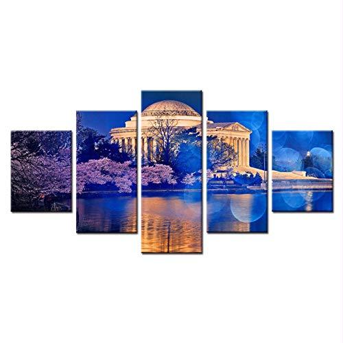 Canvas schilderij5 Stuk Canvas Schilderij voor Woonkamer Villa Het Paleis De Kersenbloesem Lake Het Witte Huis Het Scenery Picture 30x40cmx2 30x60cmx2 30x80cmx1 No Frame