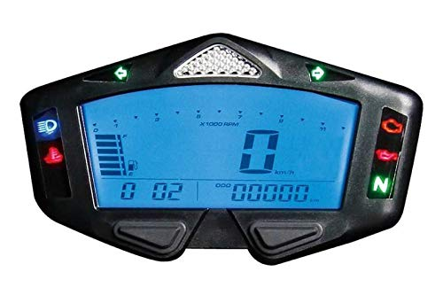 KOSO Digitales Multifunktions-Cockpit, DB03-R, Geschw./Drehzahl/Kilometerstand/TripA+B/Wasser Temp/Ganganzeige.usw. Halt