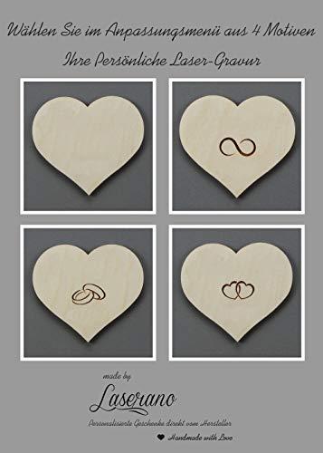 Alternatives Hochzeitsgästebuch, Herzform | Personalisierbar mit Wunschgravur - 3