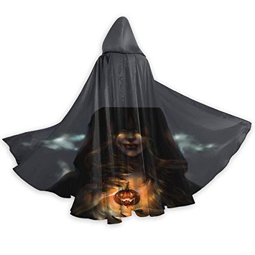 Amanda Walter Capa con Capucha de Navidad Negra de Bruja de Calabaza de Halloween Capa de Fiesta de Disfraces de Halloween de Cuerpo Entero Brillante para Hombres Mujeres