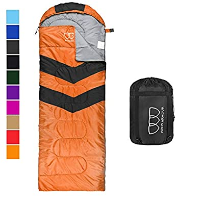 Gold Armour Sleeping Bags for Adults Kids Boys Girls Backpacking Hiking Camping, Cold Warm Weather 4 Seasons, Indoor Outdoor Use, Lightweight & Waterproof (Orange/Black - Left Zipper)