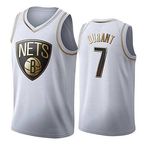 OLJB Kevin Durant Jersey para Hombres y mujeres7#, Brooklyn Nets Fan Model Sports Tank Top, Tela de Malla de Secado rápido y de Secado rápido, White-XXL