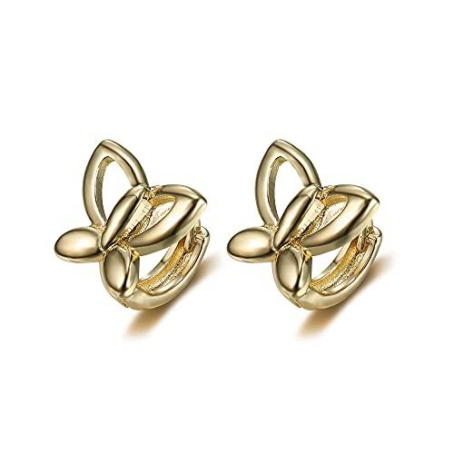 BOBIJOO Jewelry - Paire de Boucles Oreilles Enfant Bébé Fille Plaqué Or Papillons Créoles...