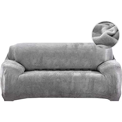 Sofabezüge, Stretch-Sofabezug mit Armlehnen Jacquard Velvet Furniture Protector Replacement(Grau, 3-Sitzer 195-230cm)