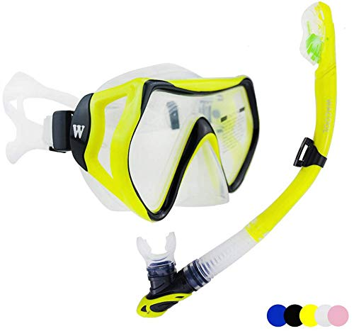 WACOOL Snorkeling Package Set for Adults, Anti-Fog Coated Glass Diving Mask, Snorkel with Silicon Mouth Piece,Purge Valve and Anti-Splash Guard.(Yellow)