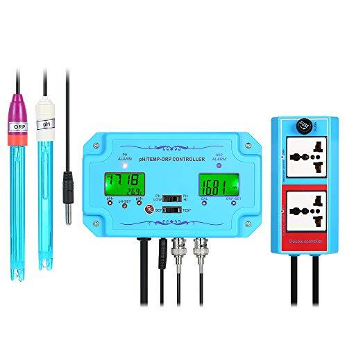 Controlador profesional de pH/ORP/TEMP 3 en 1 Detector de la calidad del agua con relés separados Electrodo recargable Tipo de sonda BNC Probador de calidad del agua para acuarios hidropónicos