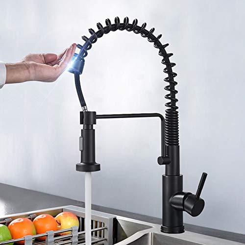 SUGU - Grifo de cocina con sensor automático y alcachofa extraíble, batería mixta para cocina, grifo de cocina inductivo táctil, negro, monomando, rango giratorio de 360°, batería de cocina