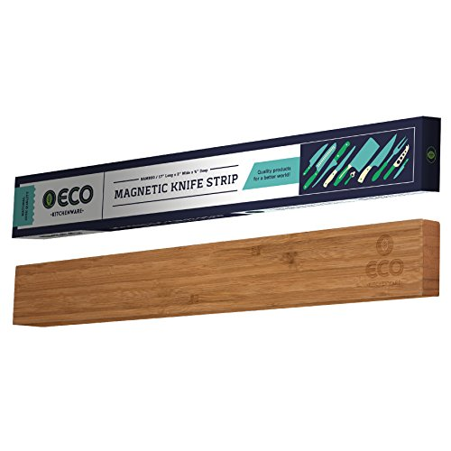Magnetic Knife Strip | 17 Inch Bamboo Wood Knife Strip | Strong Magnetic kitchen knife holder amp Magnet Utensil Organizer by ECO Kitchenware