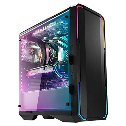LIQIANG Caja para Computadora, Caja para Computadora E-ATX, Equipada con Barra De Luces Colorida ARGB, con 2 Ventiladores con 240 Posiciones De Enfriamiento por Agua