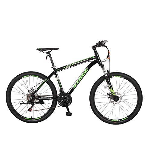Mountain bike 26 pollici,bici da uomo in lega di alluminio ammortizzato,fuoristrda a 21 velocità,sospensione per mountain bike con sospensione completa,freno a disco,forcella ammortizzata (verde)