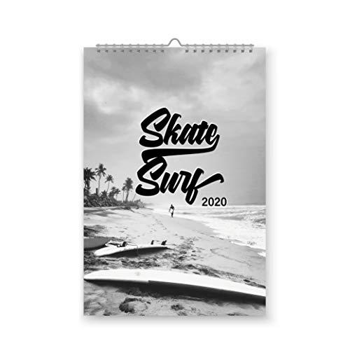 42thinx Skate & Surf - Calendario anual de pared, DIN A4 para 2020, imágenes atractivas, calendario para colgar con espiral, calendario de pared, diseño deportivo V1 de enero a diciembre