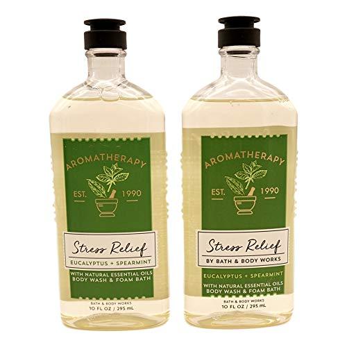 Bath and Body Works 2 Pack Aromatherapy Stress Relief Eucalyptus & Spearmint Shower Gel. 10 Oz.
