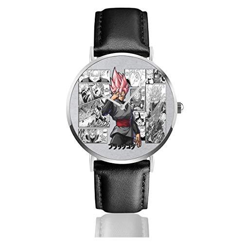Unisex Business Casual Dragon Ball Z Black Super Saiyan Rose Manga Uhren Quarz Leder Armbanduhr mit schwarzem Lederband für Männer Frauen Young Collection Geschenk
