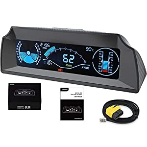 Car Head Up Display with 5.3″ Large Screen, OBD2 Speedometer Inclinometer for Most Vehicle, OBDII HUD Level Tilt Gauge Slope Meter with Alarm, Coolant Temperature, Battery Voltage, Clearing Fault Code