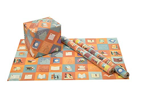 eVincE 10 Recyclable Book Gift Wrapping Paper | with Reading Facts | Children Birthday kids office Gifting all occasion Christmas Hanukkah New Year Gifts (70x50 cms)| reuse Scrapbook making