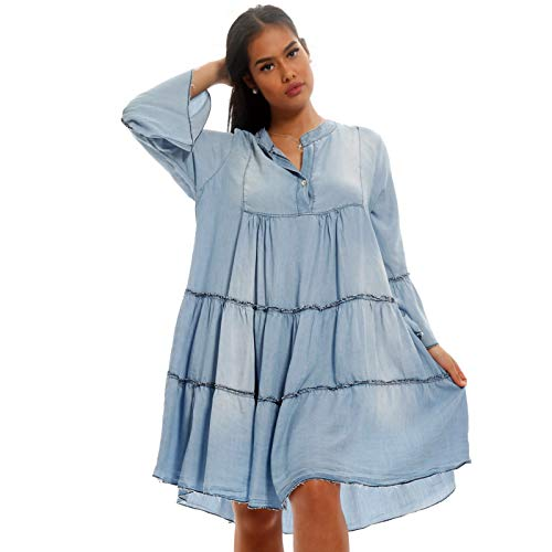 YC Fashion & Style Damen Tunika Kleid Jeans Optik mit Volants in Oversize Form Sommer Strand oder Freizeit Kleid H251 Made in Italy (One Size, Lightblue)