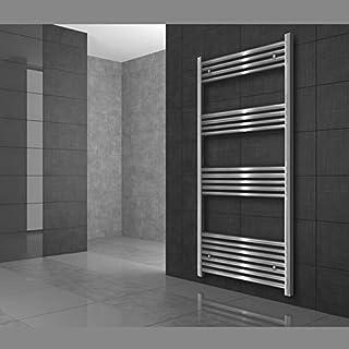 ECD Germany Radiador de baño 450 x 900 mm - Color cromado - Curvado - Conexión central - Radiador diseño clásico - Toallero calefactor para baño - Radiador calefactor de baño - No eléctrico