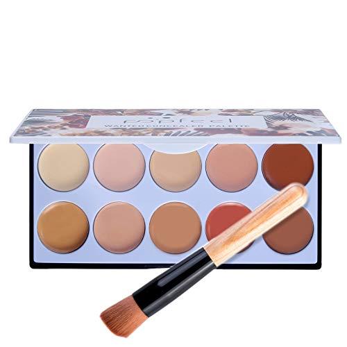 Crème de couverture complète dissimulant le maquillage anti-cernes soyeux 10 couleurs + pinceau, palette de crème anti-cernes contour avec pinceau de maquillage correcteur et neutralisant Contour (a)