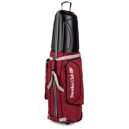 Founders Club Golf Travel Cover Luggage for Golf Clubs with ABS Hard Shell Top Travel Bag (Wine)
