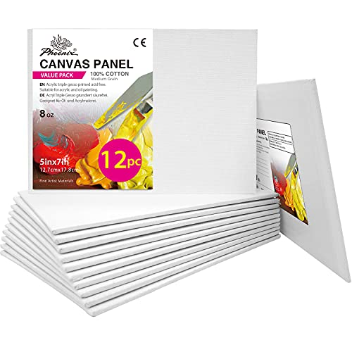PHOENIX Artist Painting Canvas Panels - 5x7 Inch / 12 Pack - Triple Primed...