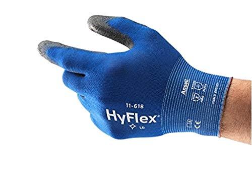 Ansell HyFlex 11-618 Arbeitshandschuh aus Nylon, Extrem Dünn, Vielseitig Einsetzbarer Mechanikschutz-Handschuh, Blau Schwarz Größe 9 (12 Paar)