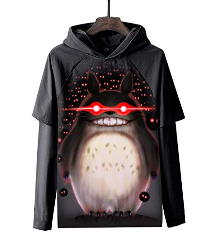 MWMMWLH Sudaderas con Capucha,Manga Larga Camisetas Patchwork Niño Hip Hop Anime Totoro Tops Sudadera Falso Dos Moda PulloverNegro 3XL