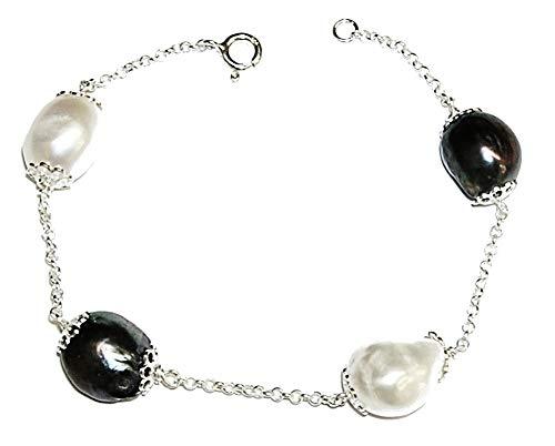Pulsera de Perlas Cultivadas Barrocas Blancas y Grises, y Plata de Ley 925. Estuche Incluido