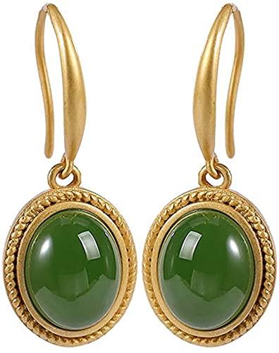 LSWKG Pendientes de Gota de Las Mujeres 925 Sterling Silver Gemstones Círculo Plano Disco Drops Drops 925 Joyería de Plata esterlina para Mujeres Adolescentes