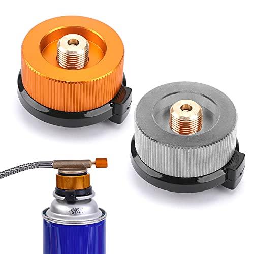 Mlysnd Adaptador Botella Gas, 2 Piezas Adaptador Ocina Gas Butano para Bidón De Tornillo Cartucho De Gas De Pistón Adaptador (Gris, Naranja)