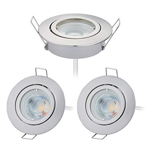 HCFEI 3er set LED Einbaustrahler dimmbar rund schwenkbar 5W flach 230V Einbau-Spot Strahler Einbauspot 68mm Bohrloch, Neutralweiß 4000K