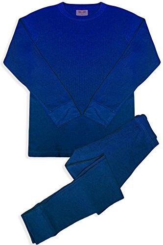 Basico de Hombre 2pieza Larga John térmico Juego de Ropa Interior 100% algodón - Azul -