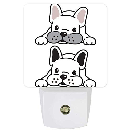 Sensore Di Movimento Plug In Night Light, Dusk To Dawn Cartoon Bulldog Bianco Caldo, Stick-On, Luci Notturne Ad Alta Efficienza Energetica Per Muro, Scale, Armadio, Corridoio