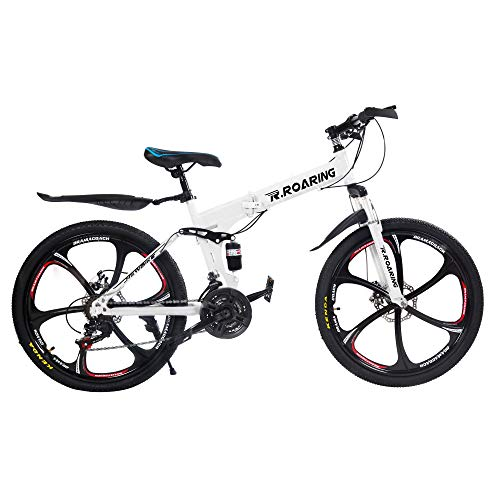 HGmart Folding Mountain Bike, 26in 21 Speed 6-Spoke Adults Bicycle (Ship from US) Full Suspension Road Bikes with Disc Brakes for Adult Teens MTB Bikes (White)