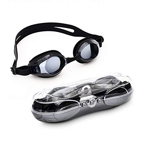 Warmiehomy Schwimmbrille, Anti-Beschlag, UV-Schutz, Nahezu sichtbare optische Korrektur (-1,50 bis -7,0), Schwimmbrille für Kinder und Erwachsene, Unisex, -5, -5