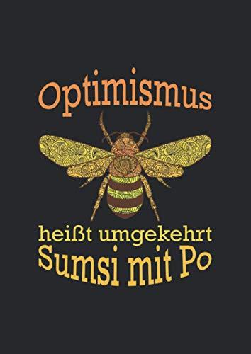 A4 Notizbuch kariert mit Softcover Design: Sumsi mit Po Optimismus Imker Bienen Honig Lustig Spaß: 120 karierte DIN A4 Seiten