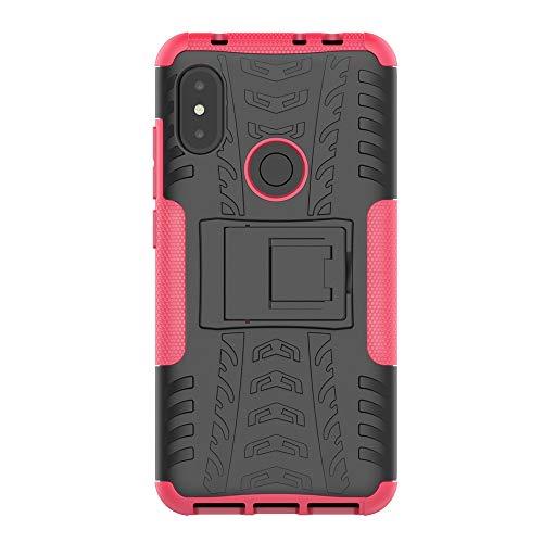 ROCKWEY Cover per Xiaomi Mi 8 PRO, Resistenza agli Urti,Antiscivolo,TPU+PC di miscelazione Giacca a Doppio[battistrada][Duro] Caso(Red Rose)