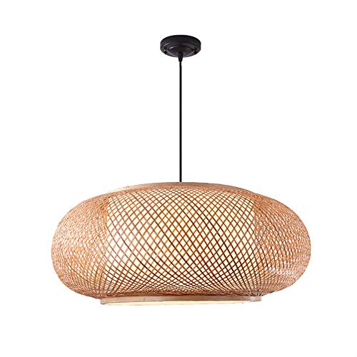 GaoHX Retro Style Lantern E27 Pendant Lamp Bamboo Wicker Rattan Lamp Shades Weave Hanging Light, Bedroom Living Room Ceiling Chandelier Teahouse Dining Room Bar Cafe Club Hanging Lamp, 50cm