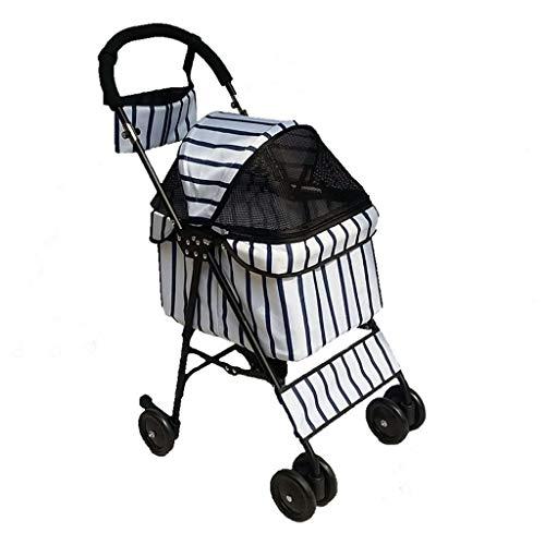 KKCD-Pet Stroller Tragbarer Hundewagen Hundebuggy Buggy Hunde Katzen Laufkatzen-Rüttler-Träger Vier Räder Haustier-Kinderwagen