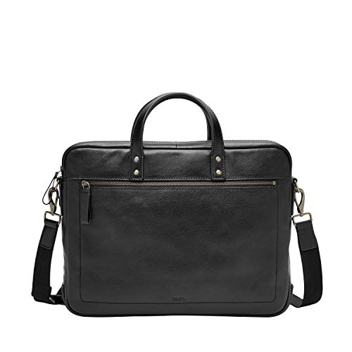 Fossil Men's Haskell Double Zip Leather Brief Workbag, Black, One Size
