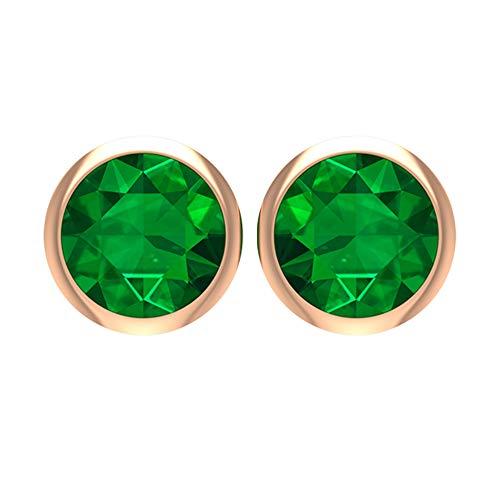 Rosec Jewels 18 quilates oro rosa redonda Green Emerald