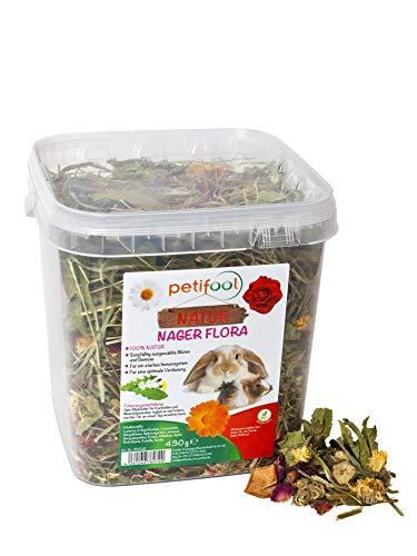 petifool Nager Flora 430g - Alleinfutter für Nager - natürliches Nagerfutter für Kaninchen und Meerschweinchen - ohne künstliche Zusätze - 100% Natur - artgerechtes Futter - Kräuter und Luzerne