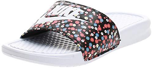 Nike Wmns Benassi JDI Print, Zapatos para Correr Mujer, White/White/Black/Magic Ember, 35.5 EU